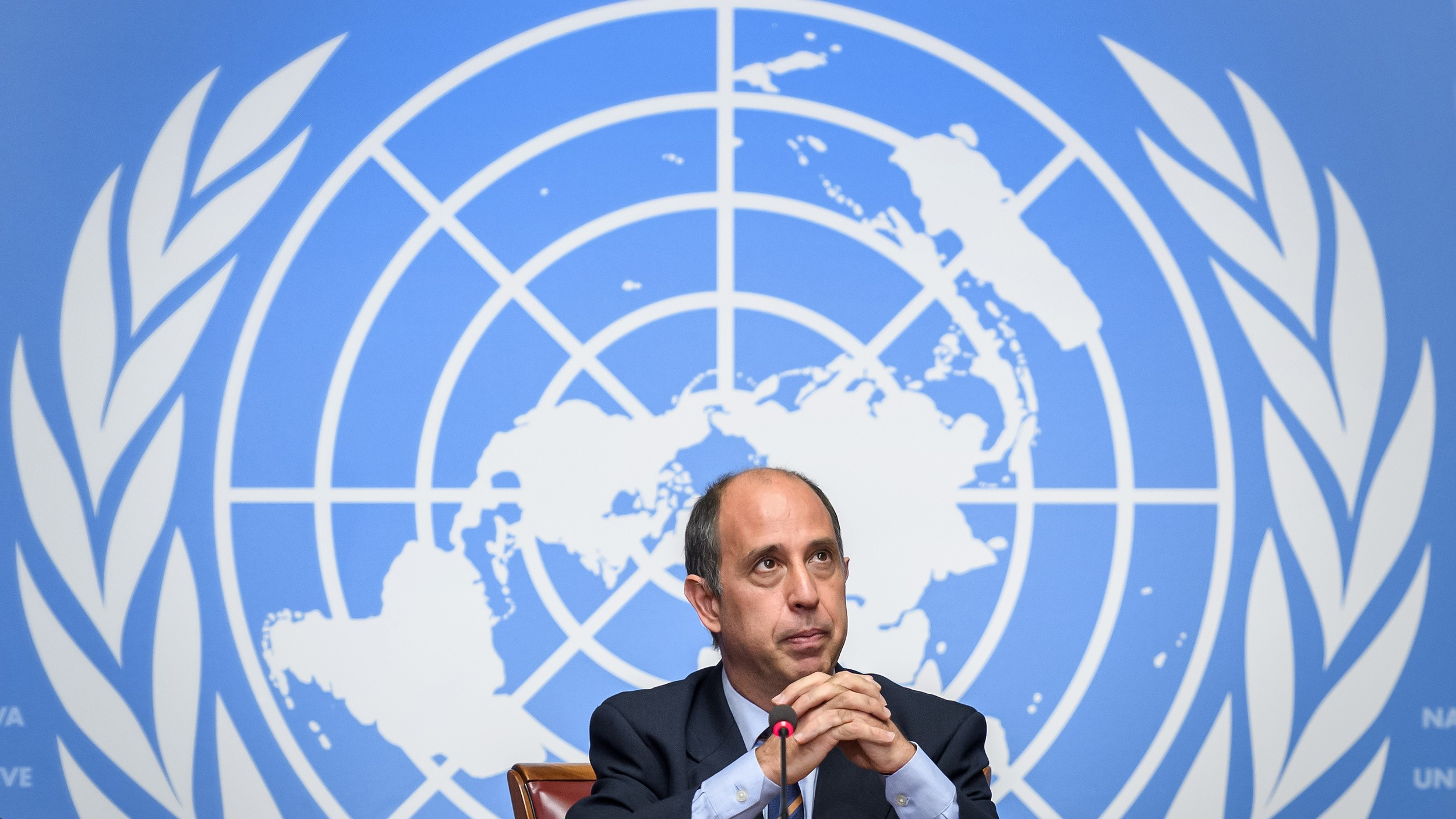 UN Special Rapporteur on the Situation of Human Rights in North Korea Tomas Ojea Quintana attends a press conference after delivering his report before the Human Rights Council in Geneva, March 9, 2020.