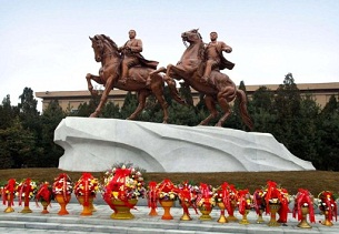 North Korea honored leader Kim Jong Il (R), who died in December, with a statute of the former leader riding next to his father Kim Il Sung (L) unveiled in Pyongyang on Feb. 14, 2012.