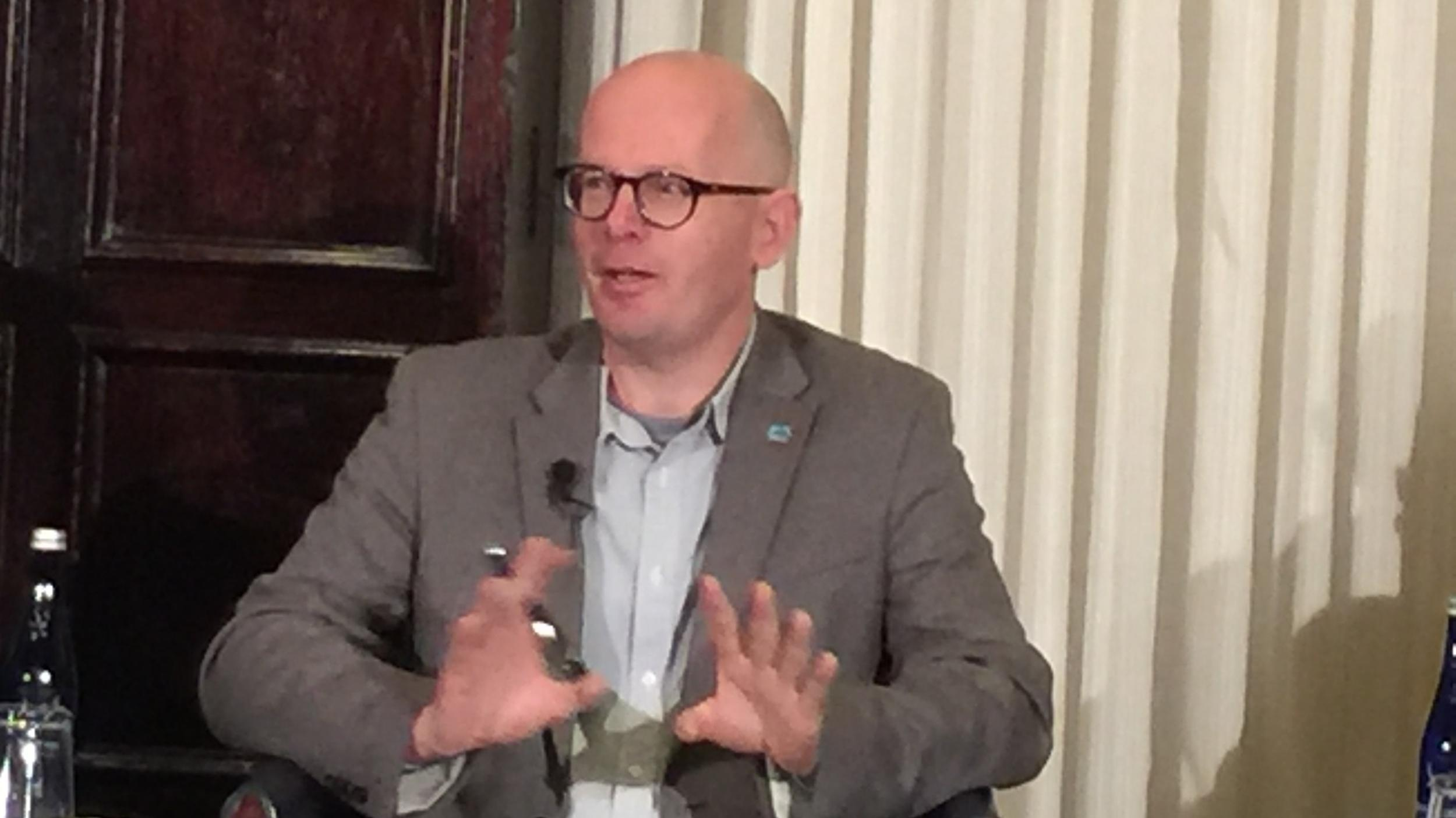 Martyn Williams discusses his report released by HRNK at the National Press Club in Washington, December 18, 2019.