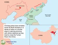 Map of China and North Korea border. Graphic: RFA