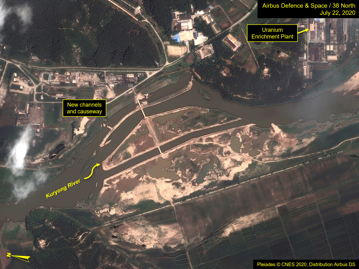 A view of the Yongbyon Nuclear Scientific Research Center on the bank of the Kuryong River in Yongbyon, North Korea, July 22, 2020. By August 6, 2020 the area had become flooded.