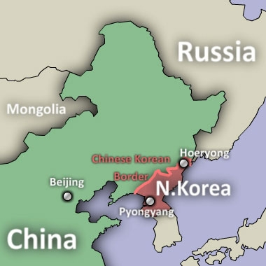 A map showing China-North Korea border.