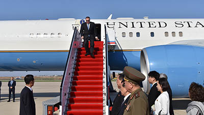 US Secretary of State Mike Pompeo exits his plane on arrival in Pyongyang, May 9, 2018. Credit: AP Photo