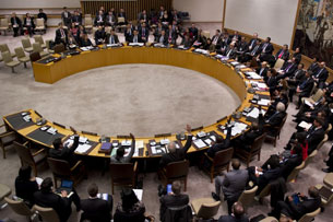 Members of the United Nations Security Council vote on a resolution condemning North Korea in New York, Jan. 22, 2013.