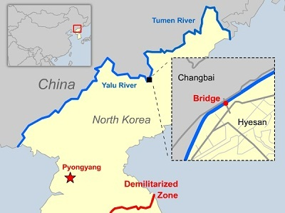 Yalu River Map Bridge Across China North Korea Border River Reopened Yalu River Map