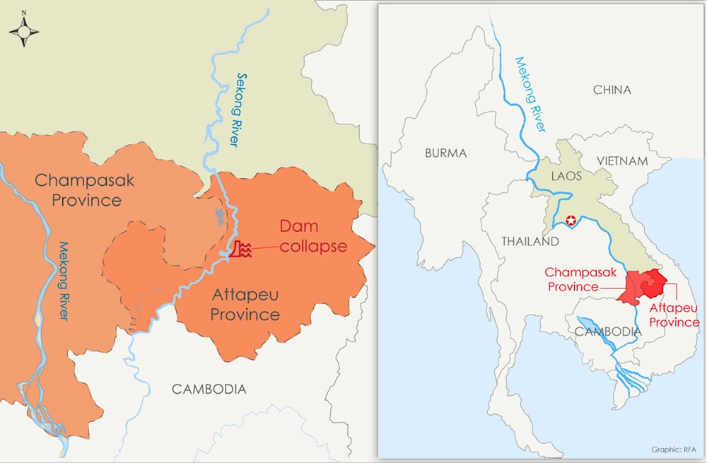 A map shows the site of the dam collapse in Laos' Attapeu province. Credit: RFA