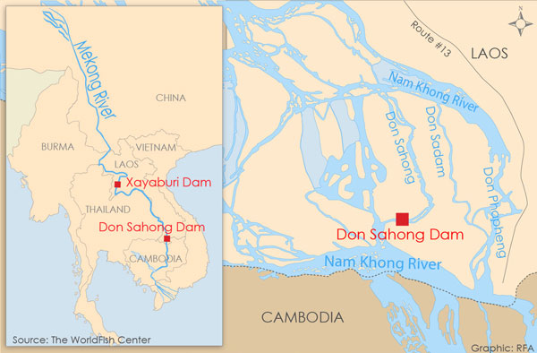 The Don Sahong Dam is the second of 11 dams planned by Laos along its stretch of the Mekong, following the Xayaburi Dam, which began construction in late 2012.