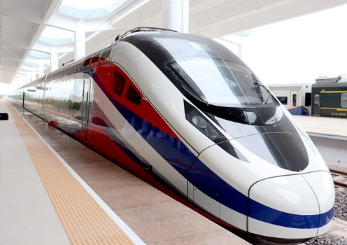 The first bullet train to serve the high-speed Laos-China railway sits in a rail station in the Lao capital Vientiane, Oct. 16, 2021.