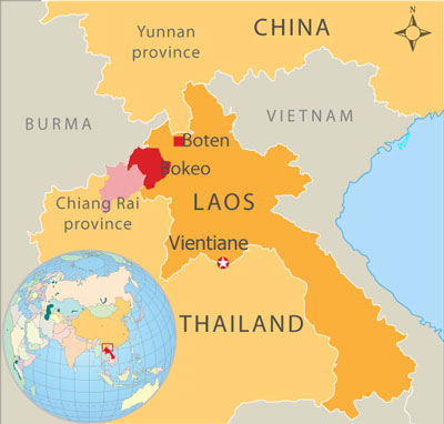 Map showing the location of the Chinese casino complexes, in Bokeo and Boten in Laos. (RFA)