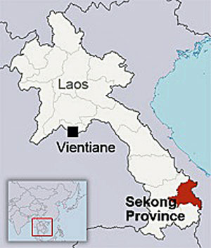 The map shows Sekong province in southeastern Laos.