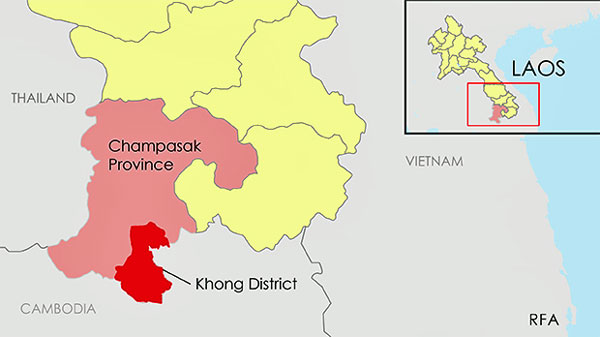 The map shows Khong district in southwestern Laos' Champasak province.