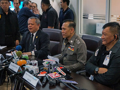 Sirinya Sitdhichai, secretary-general of the Office of the Narcotics Control Board (L), Chalermkiat Sriworakan, deputy national police chief (C), and police Lt. Gen. Sommai Kongwisaisook, commander of the Narcotics Suppression Bureau (R), speak to reporters at a press conference in Bangkok, Thailand, Feb. 2, 2017.