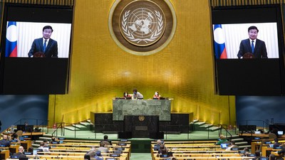 Thongloun Sisoulith, Prime Minister of Laos virtually addresses the general debate of the 75th session of the United Nations General Assembly,  in New York, Sept. 26, 2020.