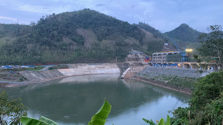 A Chinese-backed dam under construction on the Nam Ou River, a tributary of the Mekong River in Laos' Luang Prabang province, in an undated photo.