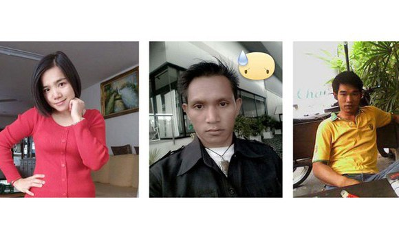 Jailed Lao human rights defenders Lod Thammavong, Somphone Phimmasone, and Soukane Chaitad are shown, left to right, in undated photos.