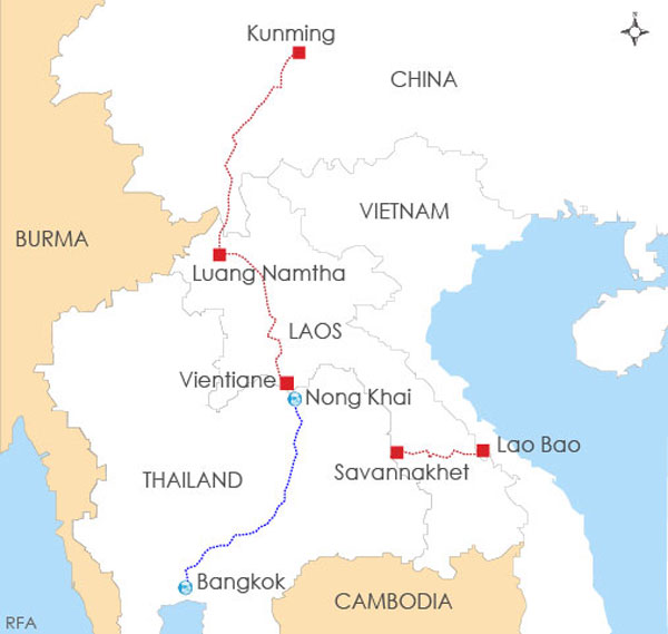 Funding For Laoschina Rail Link Hinges On Thai Project: China Laos Railway Map At Infoasik.co