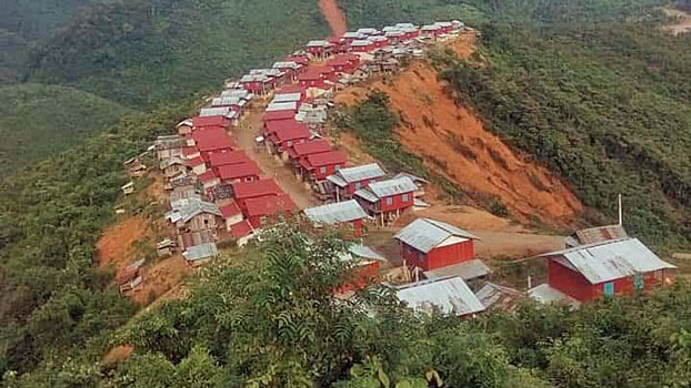 A view of the Nam Tha 1 Dam resettlement village in Nalae district, northern Laos' Luang Namtha province, Aug. 6, 2019.