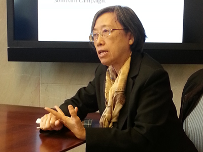 Ng Shui-Meng speaks about her husband's disappearance in Washington, April 29, 2014. Credit: RFA