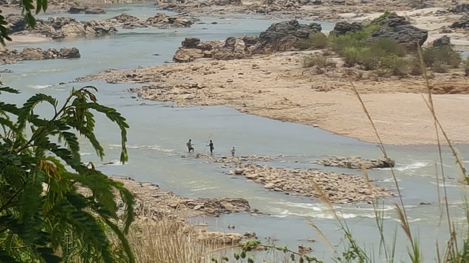 This May 11, 2020 photo shows the Mekong River just below the proposed Sanakham dam site.