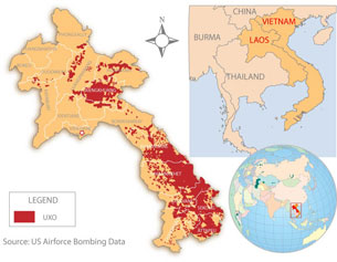 UXO contamination in Laos. Credit: RFA