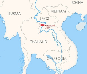 A map showing Xayaburi dam on the Mekong River in Laos.
