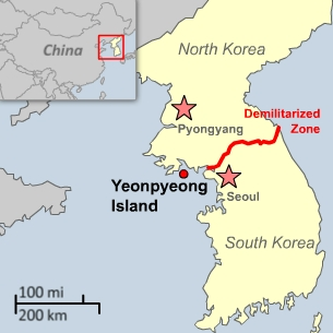 Map showing the South Korean island that came under artillery attack from its northern neighbor.
