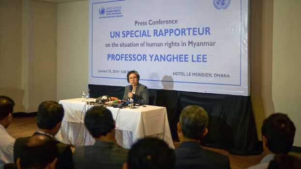 Yanghee Lee, the United Nations special rapporteur on the situation of human rights in Myanmar, speaks at a press conference in Dhaka, Bangladesh, Jan. 25, 2019.
