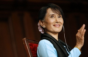 Aung San Suu Kyi attends a conference at the Sorbonne in Paris, June 28, 2012.