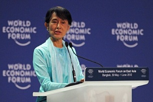 Aung San Suu Kyi speaks at the World Economic Forum meeting on East Asia in Bangkok, June 1, 2012. AFP
