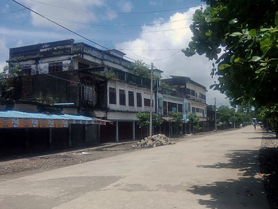 A street in Maungdaw township in Myanmar's northern Rakhine state is deserted after authorities told residents to stay in their homes following attacks by Rohingya 'terrorists,' Aug. 25, 2017.