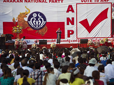 Ethnic Rakhine people attend a campaign rally for the Arakan National Party in Yangon, Oct. 25, 2015.