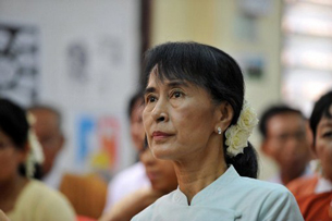 Aung San Suu Kyi attends a meeting of elected NLD officials at party headquarters in Rangoon, April 19, 2012.