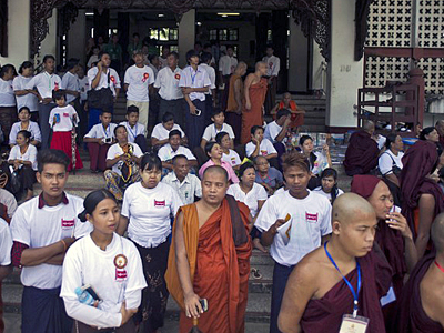 Buddhist monks and others attend a Ma Ba Tha event at a monastery in Yangon, Sept. 14, 2015. Credit: AFP
