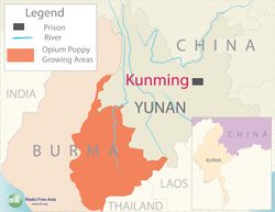 Map showing the location of Kunming Prison. Graphic: RFA
