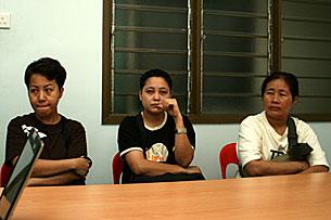 Tin Tin Khaing, Aye Aye Aung and Myint Myint Khaing. RFA/Kyaw Min Htun