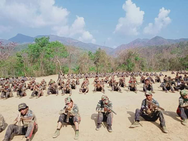 Chinland Defense Force fighters rest in an undisclosed location in the western state after weeks of fighting heavily armed Myanmar regime forces, Credit: Chinland Defense Force via Facebook