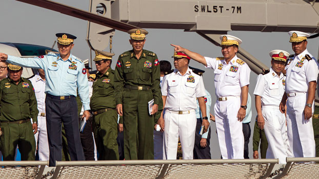 Myanmar's commander-in-chief Senior General Min Aung Hlaing (3rd from R) gestures during a celebration marking the Myanmar Navy's 72nd anniversary in Yangon, Dec. 24, 2019.
