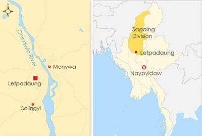 The map shows Letpadaung in northwestern Myanmar's Sagaing region. Credit: RFA