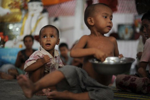 Rakhine children take refuge at a monastery in Sittwe, June 13, 2012.