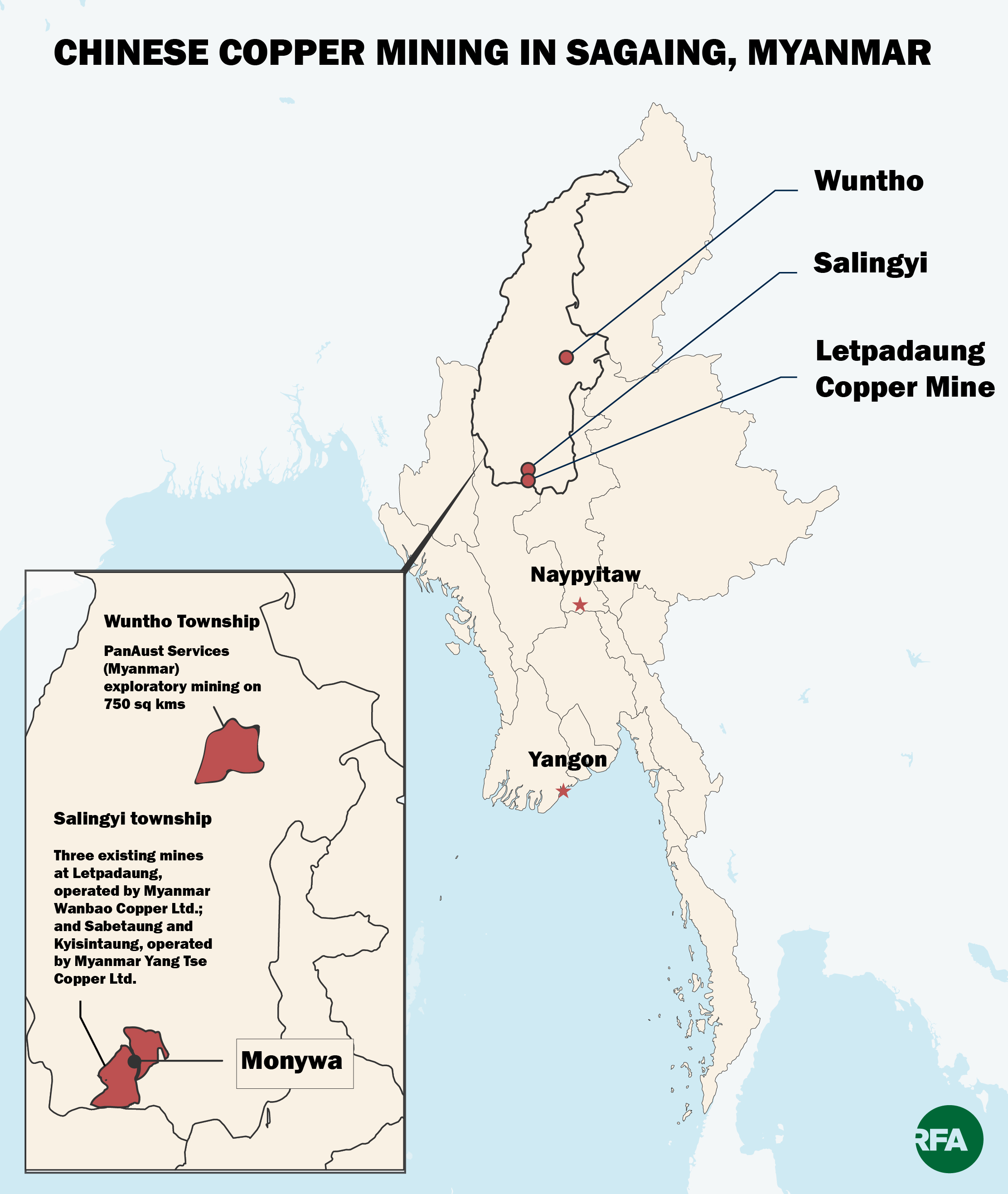 The map shows the locations of two Chinese-backed copper mining projects in Wuntho and Salingyi townships in northwestern Myanmar's Sagaing region.