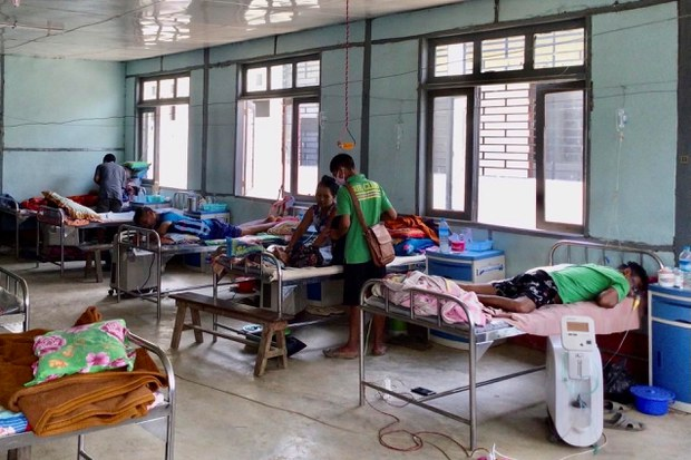 Coronavirus disease (COVID-19) patients receive treatment at the hospital in Cikha, Myanmar, May 28, 2021. Picture taken May 28, 2021