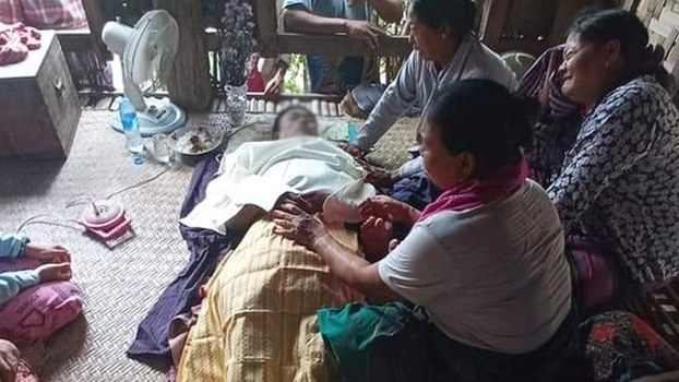 A funeral service for Kyaw Kyaw Myo, a bridegroom shot dead by security forces, in Mandalay region's Singu township, June 21, 2021.