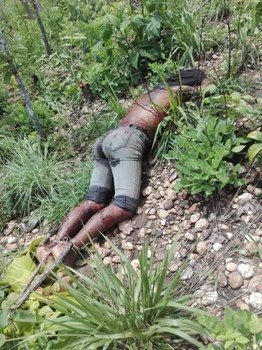 A body discovered with its ankles bound in the jungle in Sagaing's Kani township, July 13, 2021. Citizen journalist