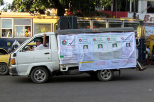 A USDP truck plays a campaign jingle while driving thru downtown Rangoon in an undated photo. RFA