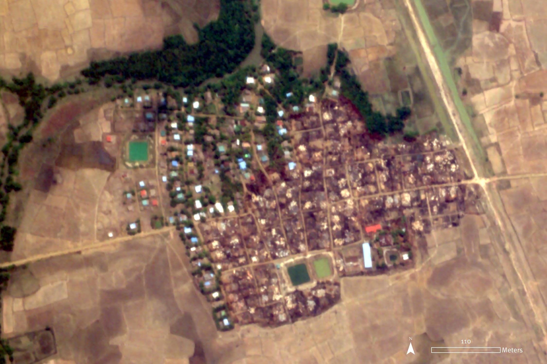 Satellite Imagery Shows Myanmar Military's Arson Attack on Rural Rakhine Village, HRW Says