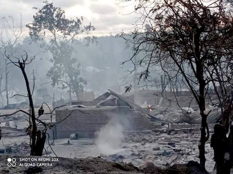 Smoke rises from remains of houses burned down in Kin Ma village, in central Myanmar's Magway region, June 16, 2021, Credit: Citizen Journalist