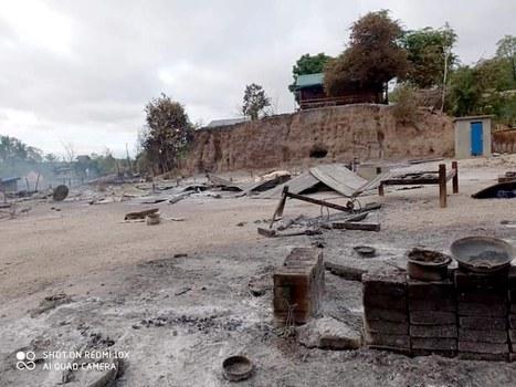 Scene of widespread destruction in Kin Ma village, June 16, 2021. Credit: Citizen Journalist.