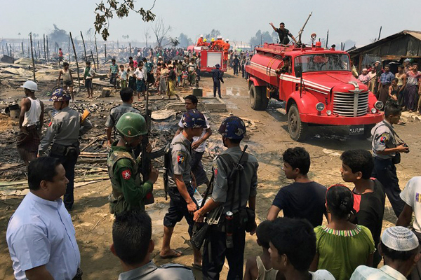 fire in rohingya camp leaves 1700 homeless in western myanmar