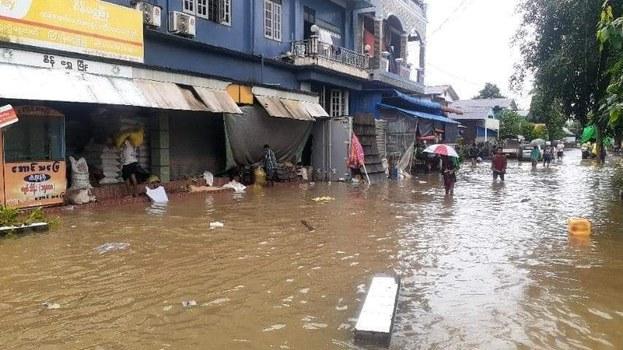 Flooding in Hlaingbwe, in Myanmar's Karen state, July 26, 2021. Citizen journalist
