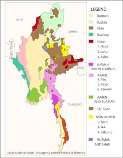 Map showing ethnic minorities in Burma. Credit: RFA